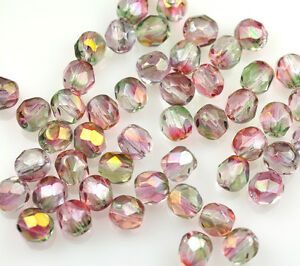 50 Fire Polished Czech Faceted Pink Round Glass Loose Jewelry Craft Beads 6mm