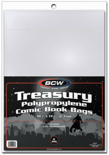 "100 Bags P  - BRAND NEW Bcw Comic Book Bags Treasury Comics 10/"" 1//2 X 13/"" 1//2"
