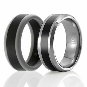 Designed Silicone Rubber Wedding Ring Men Tungsten Wedding Band Set