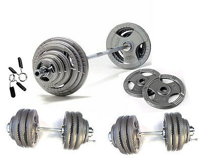 """100KG Olympic Barbell/Dumbbell Tri-Grip Plate Set Iron 2"""" Weight Discs 7ft 2 Bar"""