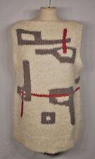 Vintage 1980s Andrea Haber Knit Vest Geo  Pull Over Ivory White S/M Wool Blend