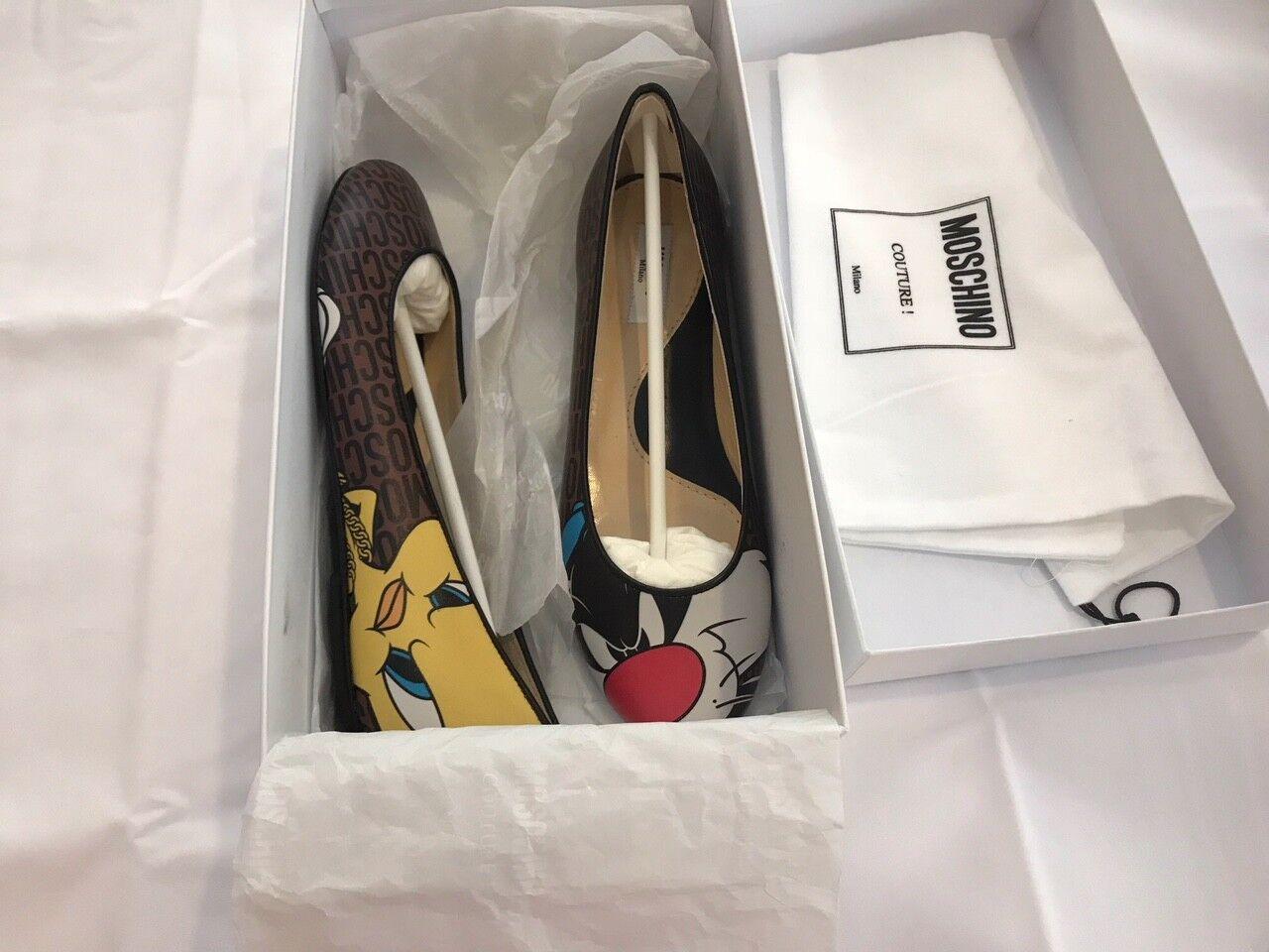 525 AW15 Moschino Couture Jeremy Scott Looney Tunes Tweety Flat Flat Tweety Ballet Scarpe 2c36c0