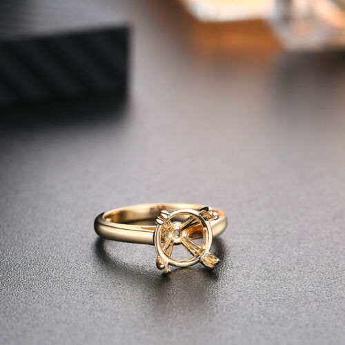 Round 10mm Solid 10K Yellow Gold Jewelry Engagement Solitaire Semi Mount Ring