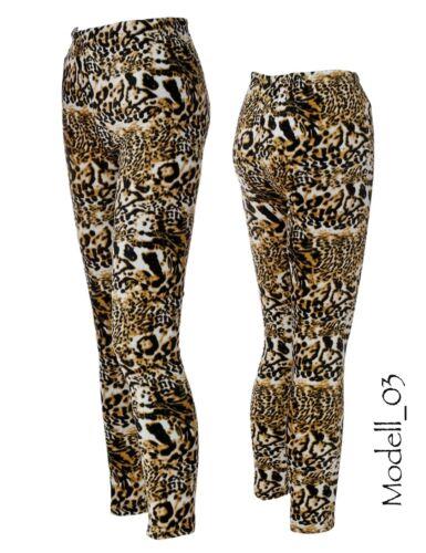 Damen Leggings warme Winter Leggins Thermo Hose Leo Tiger Leopard Tiermuster Neu