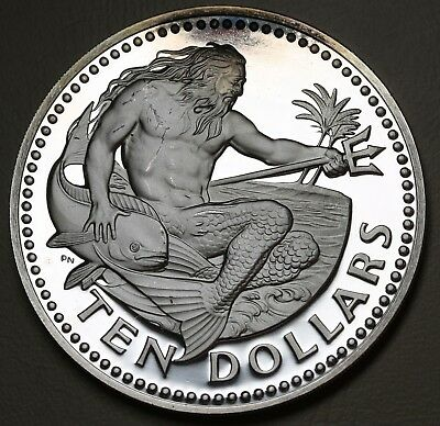 Modest 1973 Barbados 10 Dollars Neptune $10 Km# 26a Silver Proof Coin 1.12oz Afdc Bringing More Convenience To The People In Their Daily Life Coins Central America