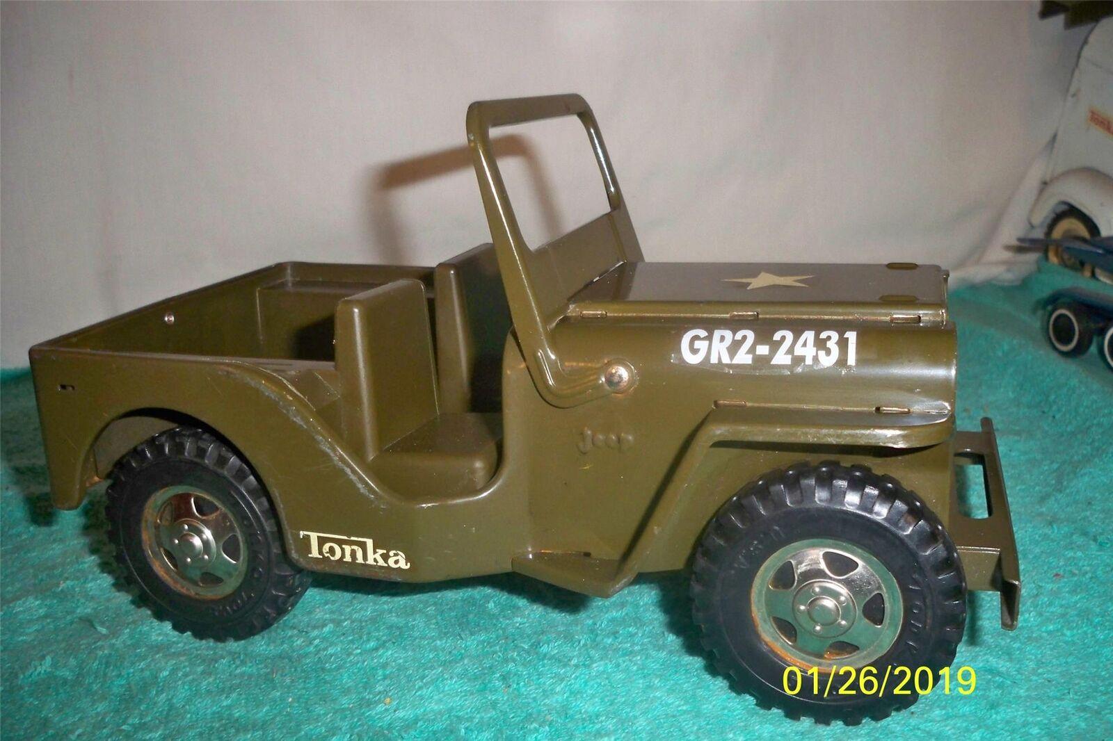 Tonka Army Jeep GR2-2431 1964 Mound Minn Jeep Press Steel 9 3 4  Long