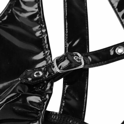 Fashion Punk Womens Faux Leather Crop Tank Top Rave Dance Bustier Bra Vest Club