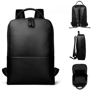 Men-039-s-Real-Leather-Business-Backpack-Rucksack-Laptop-bag-School-bag-Daypack