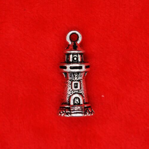 4 x tibetan silver mer phare Watchtower Charme Pendentif fabrication de bijoux
