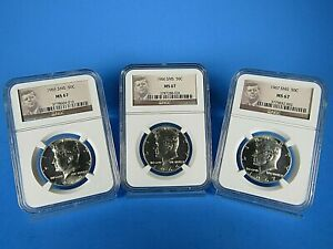 1965-1966-1967-P-SMS-Kennedy-Half-Dollars-3-Coin-Set-NGC-Ms-67-Very-Nice-Coins