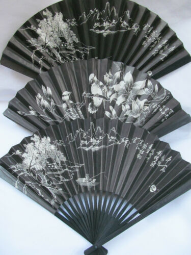 CHINESE JAPANESE GEISHA FANCY DRESS COSTUME BLACK PAPER WOOD DECORATIVE FAN 26cm