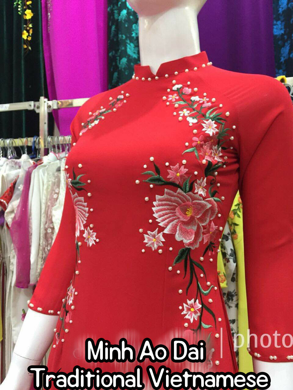 Red Embroidered Embroidered Embroidered Flowers 4 Flap Handmade Ao Dai Vietnamese +The Head Scarf f35ab4