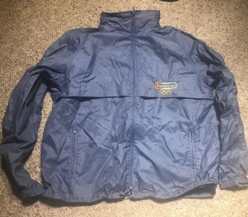 VINTAGE Panasonic ADULT XL camera Jacket Nylon Windbreaker Zip In Hood