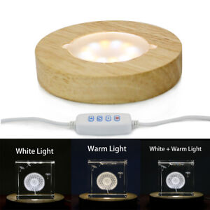 Wood-LED-Adjustable-Display-Base-for-Glass-Crystal-Paperweight-4-Inch-White-Warm