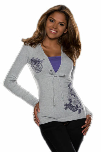 FLASHLIGHTS con cappuccio Pullover Hoodie Felpa Sweater FRONT-print Grigio S 32 34