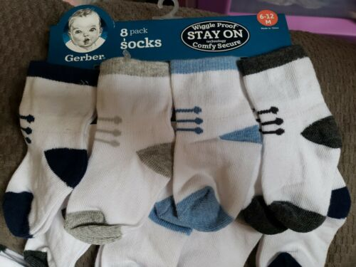 6-12 Months Gerber Baby Boy 6 Pack Wiggle Proof Socks Variety