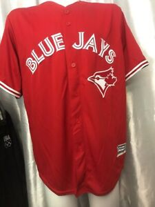 Stitched-Majestic-Toronto-Blue-Jays-CANADA-Day-CoolBase-Red-Jersey-XL-50-034-chest