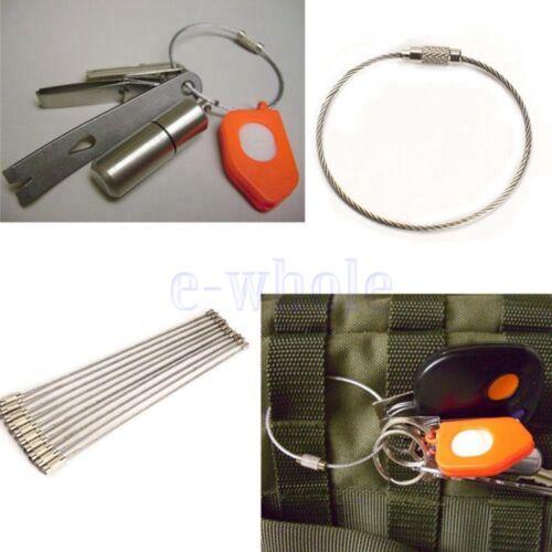 10Pcs Edelstahl Draht Schlüsselbund Kabel Seil Schlüssel Kette Schlüsselring ED