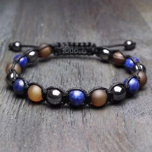 Bracelet Style Shamballa Homme Perles 8mm En Pierre Agate Lapis Lazuli Hématite S37i08gx-07234533-162584097