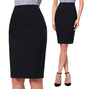 black work pencil skirt elastic high waist stretchy