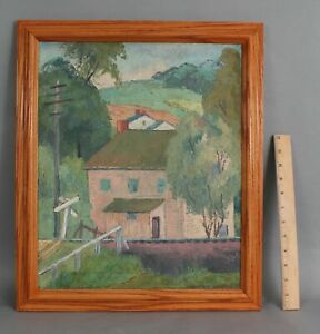 FREDERICK-BUCHHOLZ-Old-Lyme-CT-Home-Railroad-Tracks-amp-Landscape-Oil-Painting