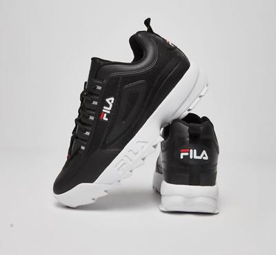Détails sur Neuf Fila pour Hommes Disruptor II Premium Athlétique Chaussure Noir Blanc Red 2