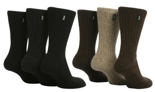 3 Pack Mens Thick Black Brown Heavy Wool Blend Knit Hiking Boot Socks Jeep