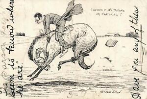 RARE-VINTAGE-COMIC-STUART-ALLAN-HORSE-RACING-POSTCARD-to-GOONDIWINDI