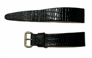 Vintage Black Leather Watch Band Strap Snake Pattern Gold Plated Buckle