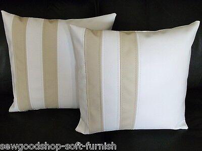 "2 Brown Faux Leather Velboa Fur Leopard Stripe Cushion Covers 16/"" 18/"" 20/"""