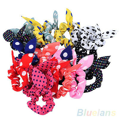 10Pcs Korean Womens Elastic Polka Dots Rabbit Ear Hair Tie Bands Ponytail Holder