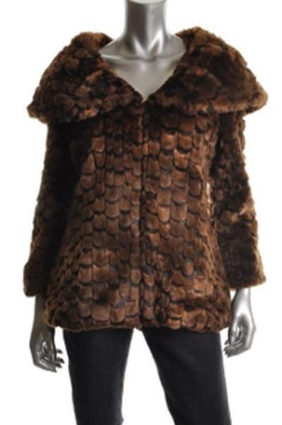 Guess Brown Faux Fur Peter Pan Collar 3 4 Sleeves Coat Size Medium NWT