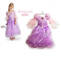 Long Hair Princess Rapunzel Girl Skirt Child Queen Party Costume Purple dresses
