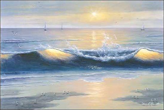 Diane Romanello  Blau Waves Keilrahmen-Bild Leinwand Meer Wellen Strand Sonne