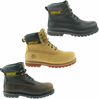 MENS CATERPILLAR SAFETY WORK BOOT SIZE UK 6 - 15 CAT BLACK BROWN HONEY HOLTON KD
