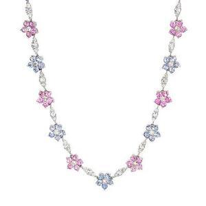 27-12ctw-CERTIFIED-Multicolor-Sapphire-amp-Diamond-14K-White-Gold-Necklace