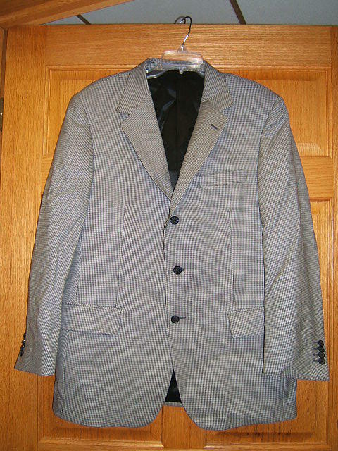 Talbot's Mens Sport Coat Navy Houndstooth 42 R wool