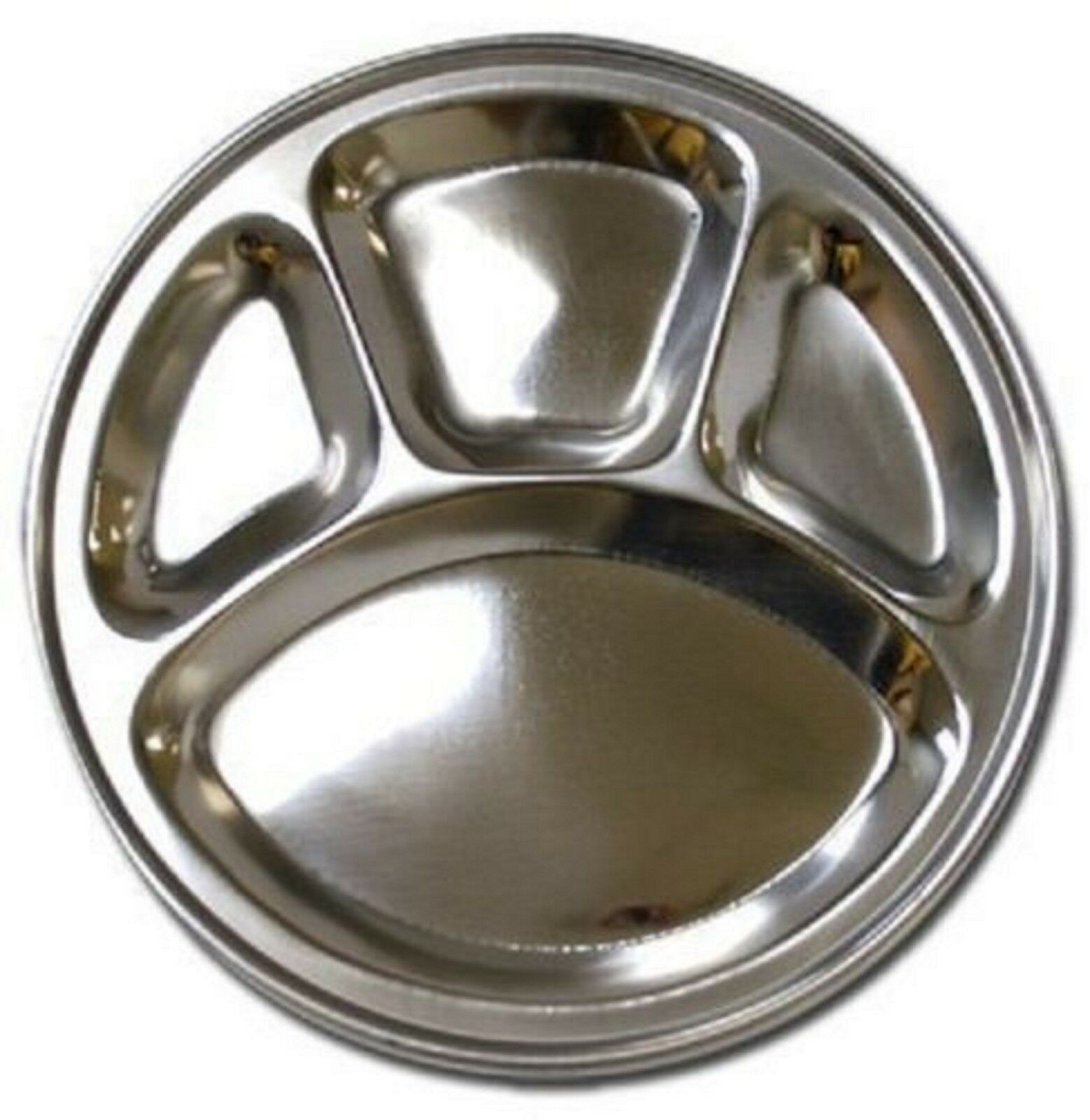 Stainless Steel Round Divided Dinner Plate in 4 Sections X 6 plate of set