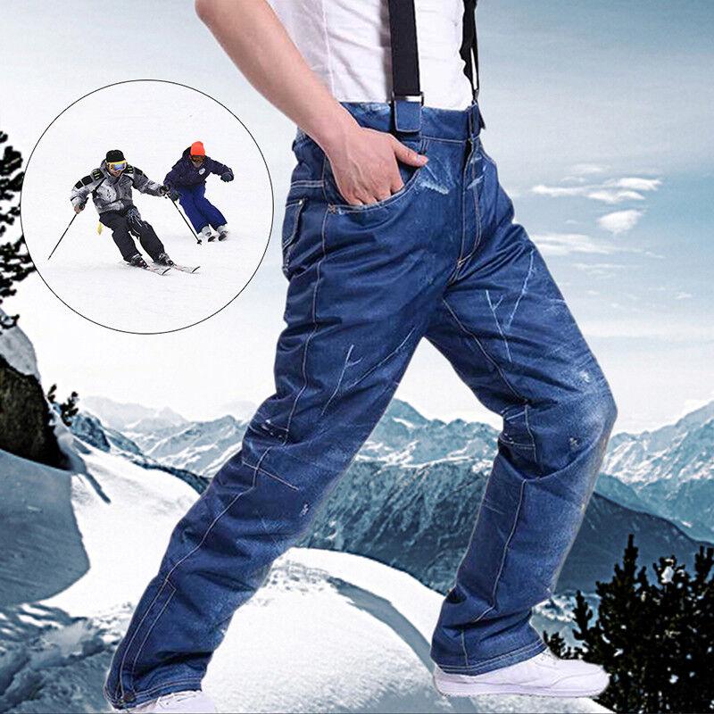 Men's Denim Waterproof SkiPants Denim Outdoor Sports Snowboard Jeans TrousersFO