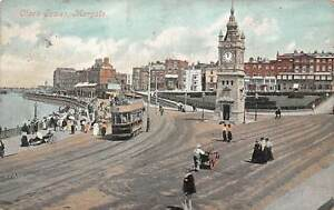 England-Margate-Animated-Clock-Tower-Tramway-Tram-Cart-1907