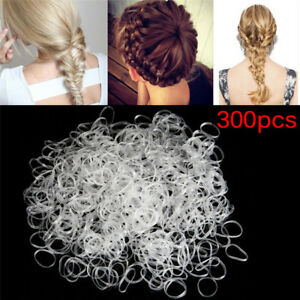 300PCS-Transparent-Rubber-Braiding-Hair-Band-Hairope-Elastic-Ponytail-Holder-BR