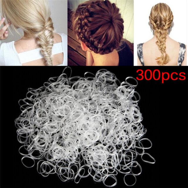 300PCS Transparent  Rubber Braiding Hair Band Hairope Elastic Ponytail Holder BR