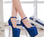 Womens-Platform-Super-High-Heels-Round-Toe-Pumps-Ankle-Buckle-Belt-Bling-Shoes thumbnail 4