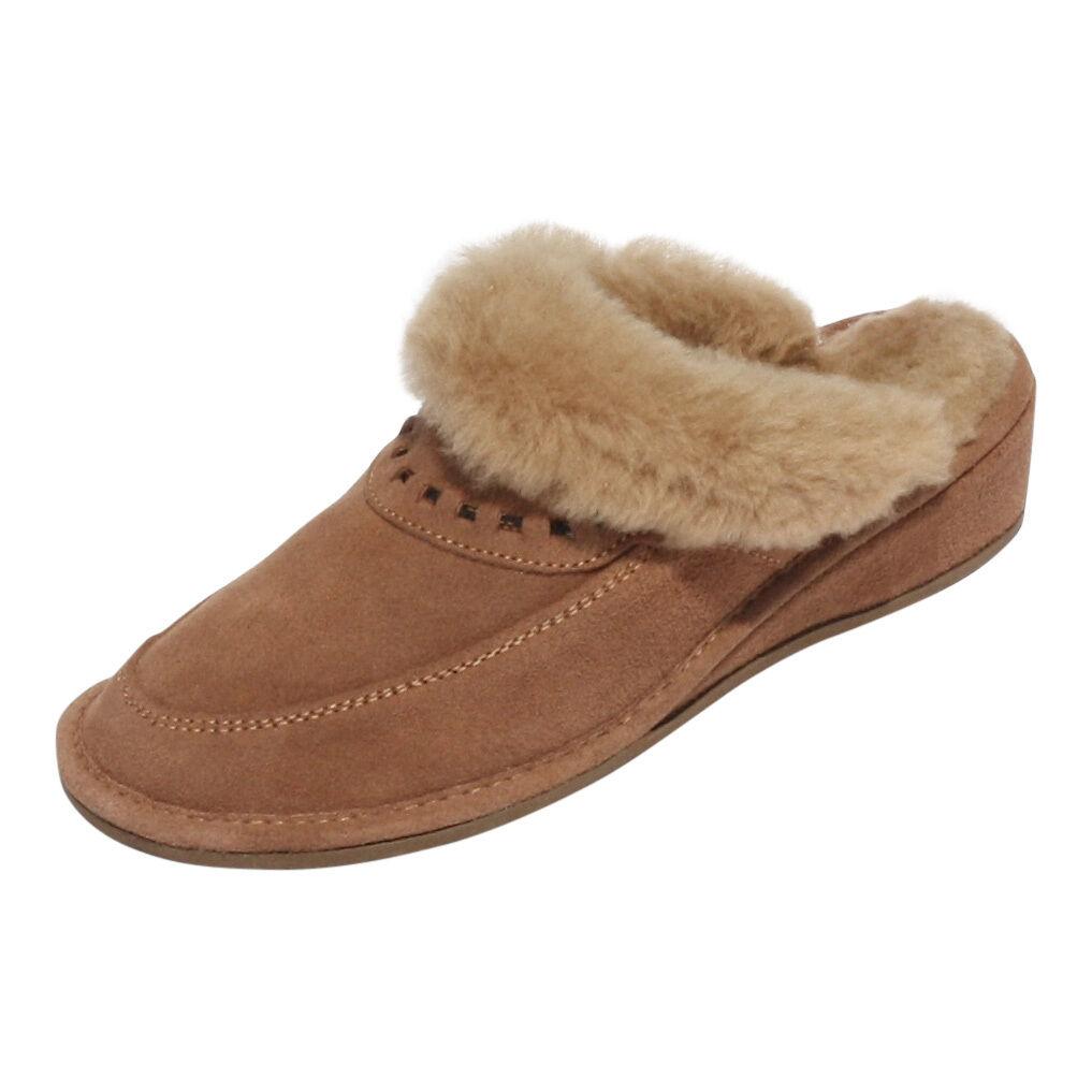 Pantoffeln Encaje Beige Damen Lammfell Hausschuhe Puschen Schlappen
