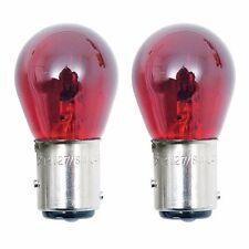 2 Red 1157 Glass Bulbs For Harley Turn Brake Run Signal w/ Smoke Or Clear Lenses