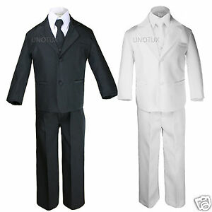 Baby Boy Kid Teen Christening Baptism White Formal Tuxedo Suit sz New Born to 20