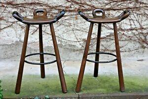 Carl-Malmsten-Barhocker-Set-of-2-Swedish-Design-Mid-Century-Modern-dunkel