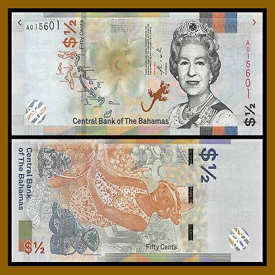 Bahamas 1//2 0.5 Dollar 50 Cents 2001 Lot 5 PCS P-68 UNC/>QEII