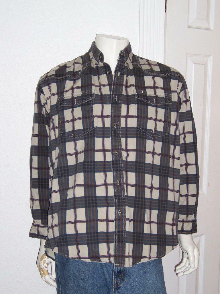 MEN'S ROPER BEIGE BROWN blueE PLAID WESTERN SHIRT HEAVY FABRIC SIZE LARGE