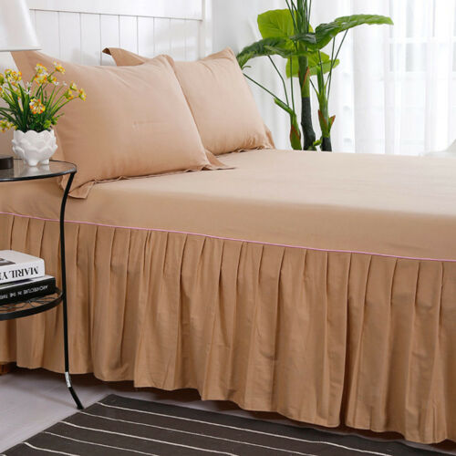 Home Plain Dyed Platform Base Valance Pleated Sheet with 16inch Drop Skirt
